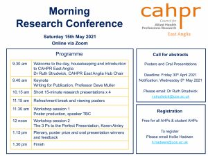 CAHPR East Anglia Conference 2021: Nailing Dissemination